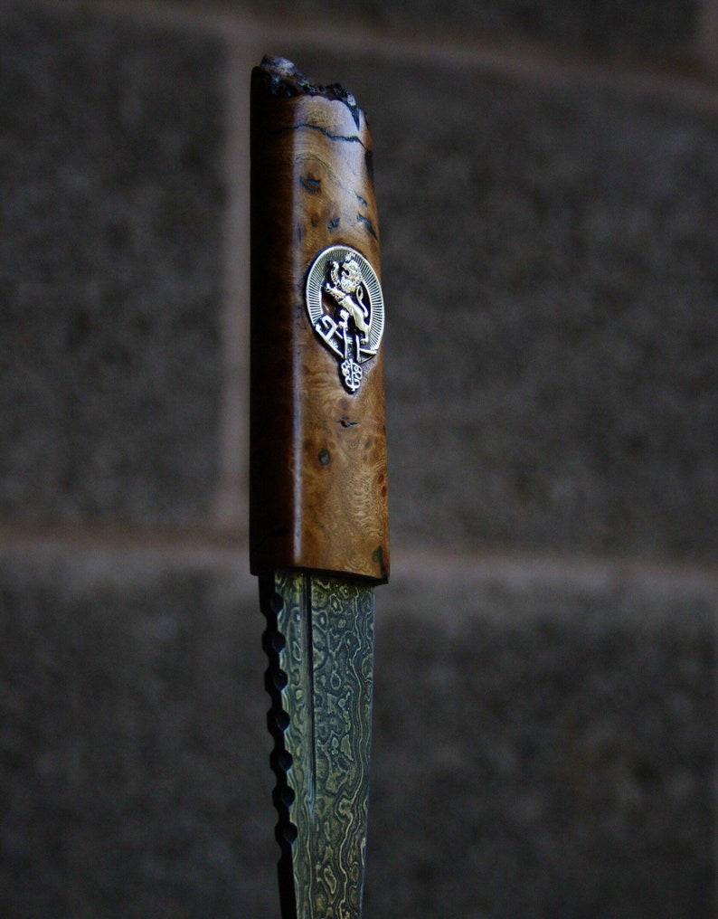 Sgian dubh Clan Crest Damascus Steel groomsman gift best man image 0