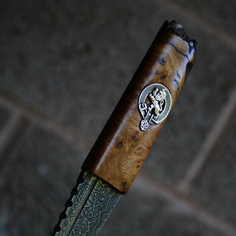 Scottish Elm Clan Crest Sgian Dubh in Damascus Steel image 1