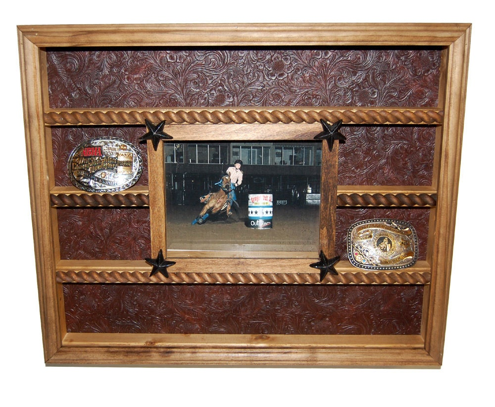 Belt Buckle Display Case With 8x10 Picture Frame - Trophy Display Case