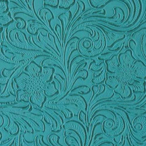 Turquoise Western Floral Heavy Duty Upholstery Vinyl 54 Wide Fabric