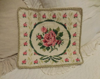 Needlepoint Pillow Cover Roses Cross Stitched Vintage Linen Cottage Shabby Chic
