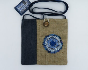 Beautiful recycled Denim bag/Rag work embellishment/Crossbody shoulder handbag / Sustainably handmade