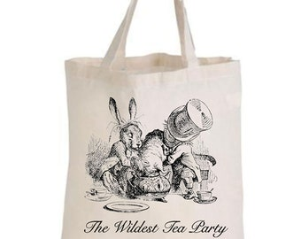 Alice in wonderland calico shopping bags/reusable shopping bag/variety of prints and styles