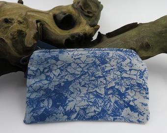 Recycled Denim Floral Print Purse / wallet / money holder / card holder / coin purse /