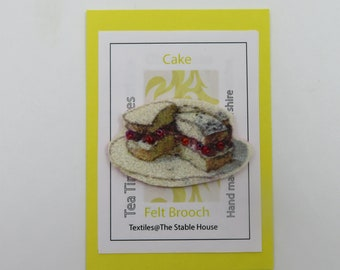 Cake brooch/Tea and cakes badge/British favourites pin/Cake lover