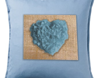 Heart Cushion Handmade Ragwork Recycled Denim/Personalised