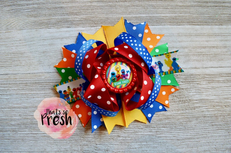 Sesame Street Hair Bow, Elmo, Cookie Monster, Big Bird, Sesame Street  Birthday, Elmo Party, Sesame Street Party