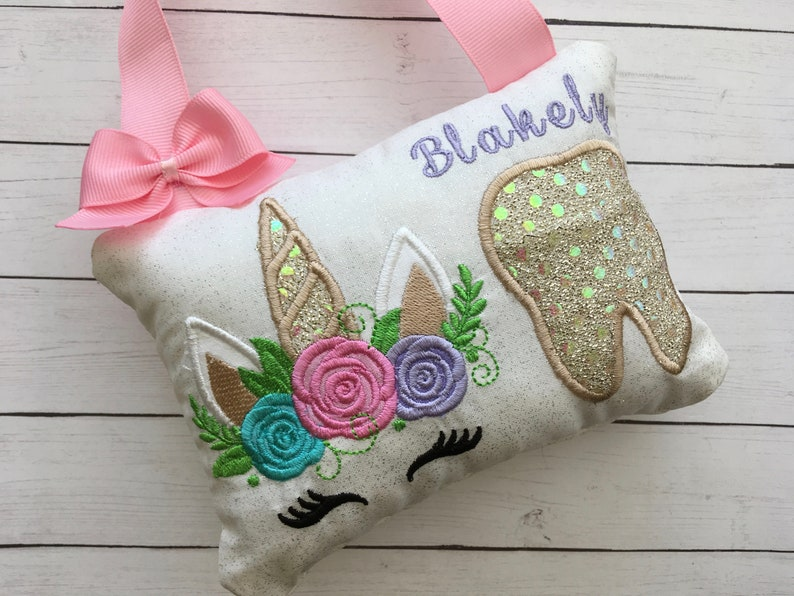 Tooth fairy pillow Unicorn Tooth fairy Pillow image 0