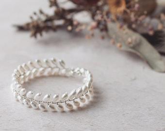 Laurel bridal bracelet, pearl vine bracelet, pearl wedding bracelet, boho bridal jewelry, boho bridal bracelet, simple bridal bracelet