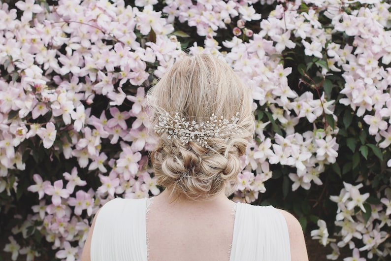 wedding hair accessories bridal hair vine gypsophila hair comb bridal pearl headpiece pearl and crystal hair comb Bridal hair comb