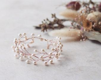 Pearl bridal bracelet, bridal cuff, rose gold bridal bracelet, pearl vine bracelet, delicate pearl bracelet, wedding bracelet, pearl cuff