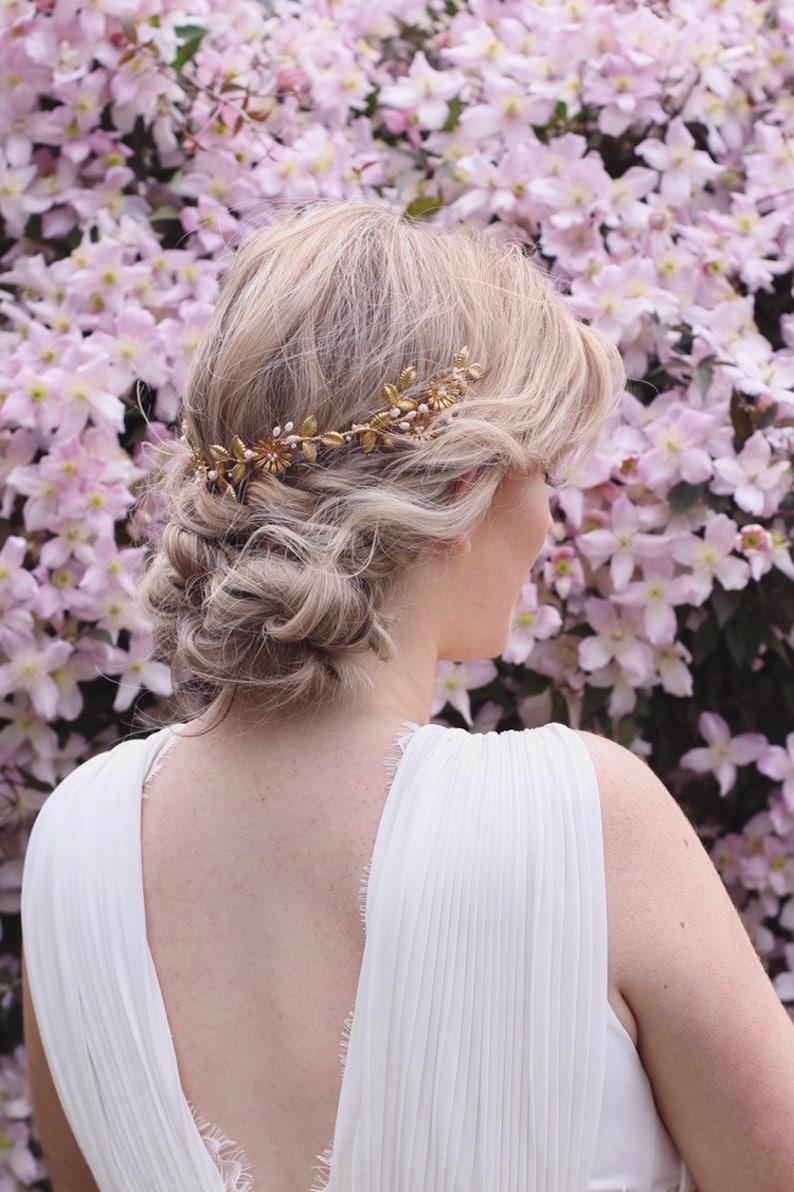 gold leaves bridal flower crown pearl hair vine Gold bridal leaf hair vine boho bridal headpiece gold leaf hair piece gold bridal halo