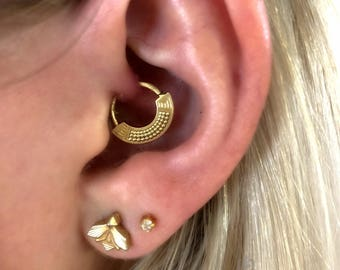 Tribal Daith Earring, Ear Piercing, Tragus Earring, Helix Hoop, Tragus Hoop, Helix Earring, Cartilage Earring, 16g, 18g, Gold or Silver