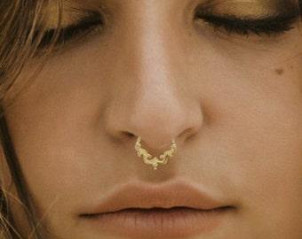 Fake Septum, Fake Piercing Jewelry, Faux Septum Ring, Fake Septum Ring Gold, Fake Nose Piercing, SAGIA