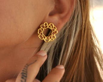 """Flower Brass Ear Tunnel, Gauge Earring, Boho Plugs, Tribal Ear Tunnel, Body Piercing Jewelry, 2g, 1g, 0g, 00g, 1/2"""", 9/16"""""""