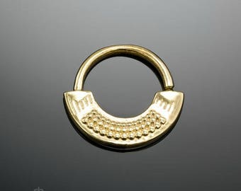 Gold Septum Ring For Pierced Nose 16g 18g Septum Piercing Jewelry 24k Gold Plated Nose Ring Indian Gypsy Tribal Boho