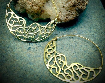 Filigree Hoop Earrings, Gold Earrings, Gypsy Earrings, Tribal Earrings, Boho Earrings, Ethnic Earrings, Tribal Belly dance Jewellery