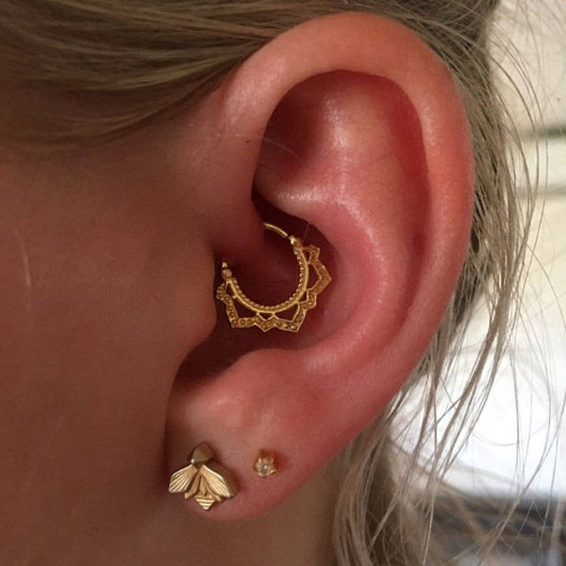 60610fc28 Lotus Ear Piercing Gold Tragus Earring Helix Piercing | Etsy