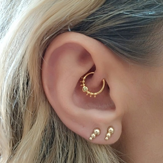 Cartilage Earring Daith Ring Peridot Helix Hoop Rook Jewelry