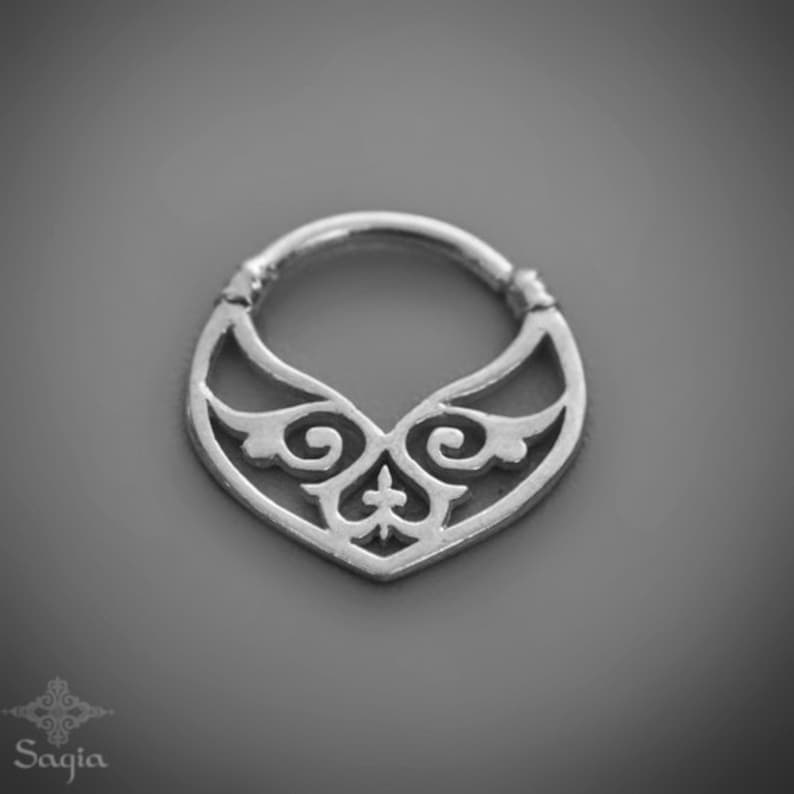 Septum Jewelry Gypsy Silver Septum Ring For Pierced Nose Tribal Septum Nose Ring Tribal Belly Dance