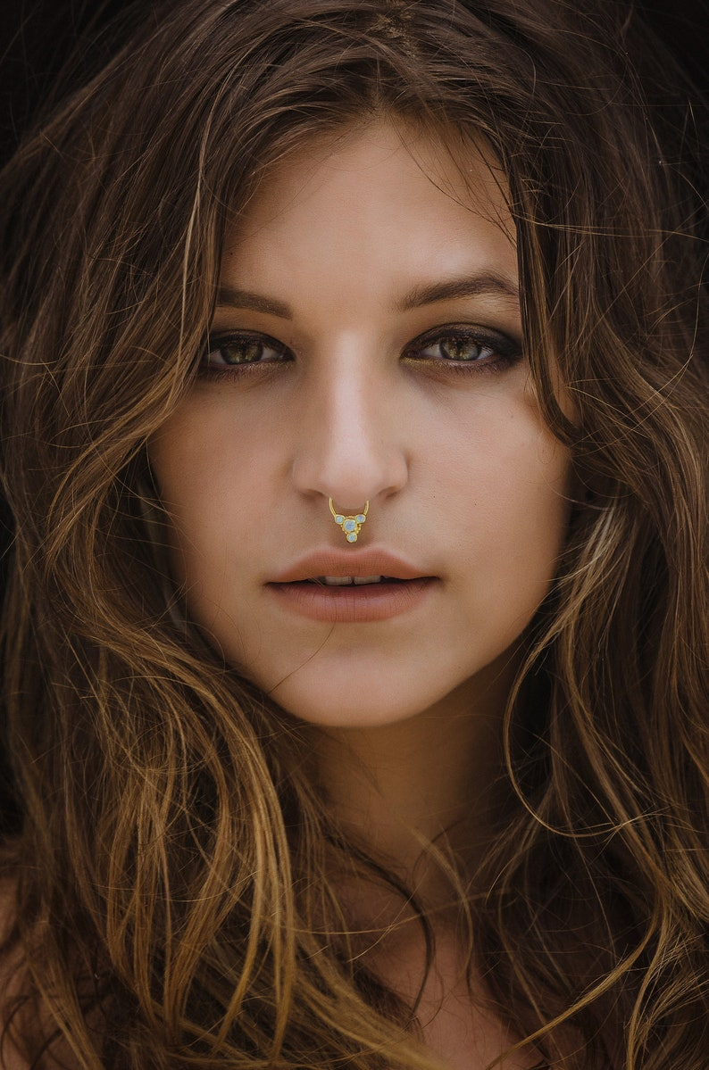 Daith Jewelry Daith Earring Gold Septum Ring Tragus Opal Rook Piercing Tribal Septum Ring 18g Septum Jewelry Gold Nose Ring 16g