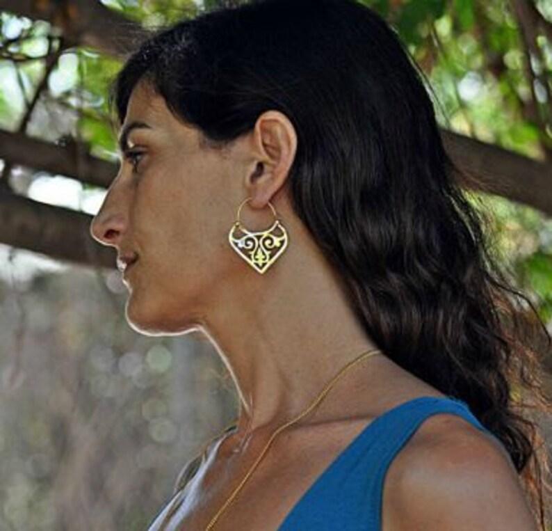 925 Sterling Silver Unseen BLACK ONYX TRIBAL ANTIQUE LOOK HOOP Earrings 1.2 Inch