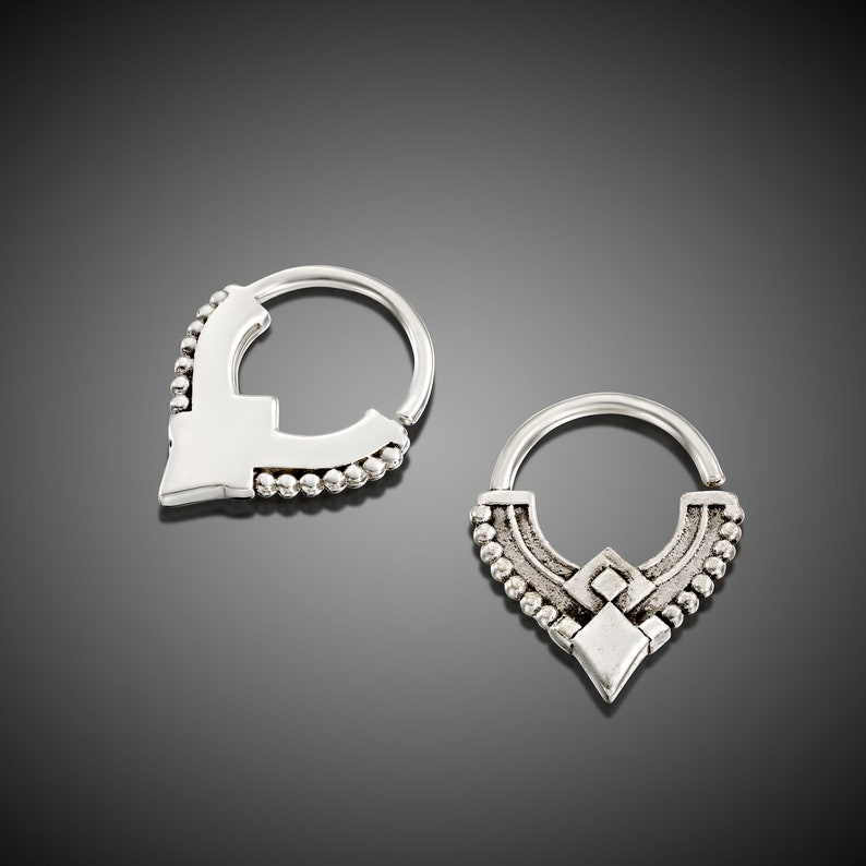 Silver Septum Ring Cartilage Earring Septum Jewelry Tragus Hoop Tribal Nose Piercing Daith Jewelry Rook,Indian,16g,18g Helix Piercing