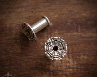 Silver Tunnels, 4 mm Tunnel, Silver Ear Tunnel, Ear Gauges, Silver Plugs, Mandala Plugs, Gauge Jewelry, Body Piercing Jewelry By Sagia