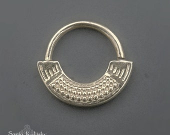 Silver Septum Ring For Pierced Nose, Septum Piercing, Septum Jewelry, Tribal Septum Ring, 16g Septum, 18g Septum, Silver Nose Ring