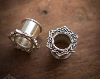 Silver Lotus Tunnel Ear Plugs Gauges, 4mm, 7mm, 10mm, Ear Tunnels ,Silver Gauges, Piercing Jewelry, Tribal Gauge Jewelry