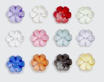 b54765639390 10 transparent flower buttons 13mm   many colors   plastic clear buttons