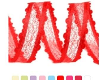 3Yd Net Ribbon 25 mm / Many colors / Wedding satin ribbon, decorative lace braid, wedding lace ribbon
