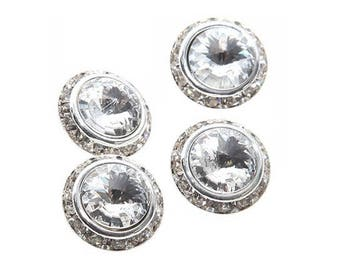 Rhinestone Crystal and silver plated 16 mm button