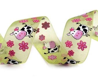 Green and pink floral organza ribbon flowers - meter and cows
