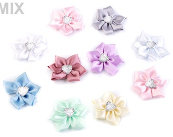 5 Satin Flower Ø50 mm with rhinestone heart
