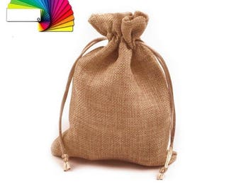 Imitation ivory or brown burlap purse