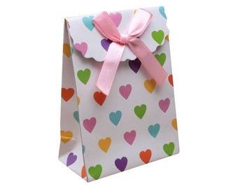 Pink small 10 cm cardstock and satin ribbon gift bag