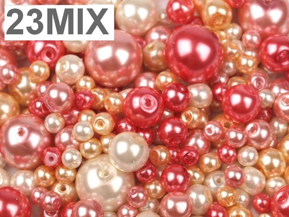D-1005 Bright Red 100 pieces 8mm Glass Pearl Beads