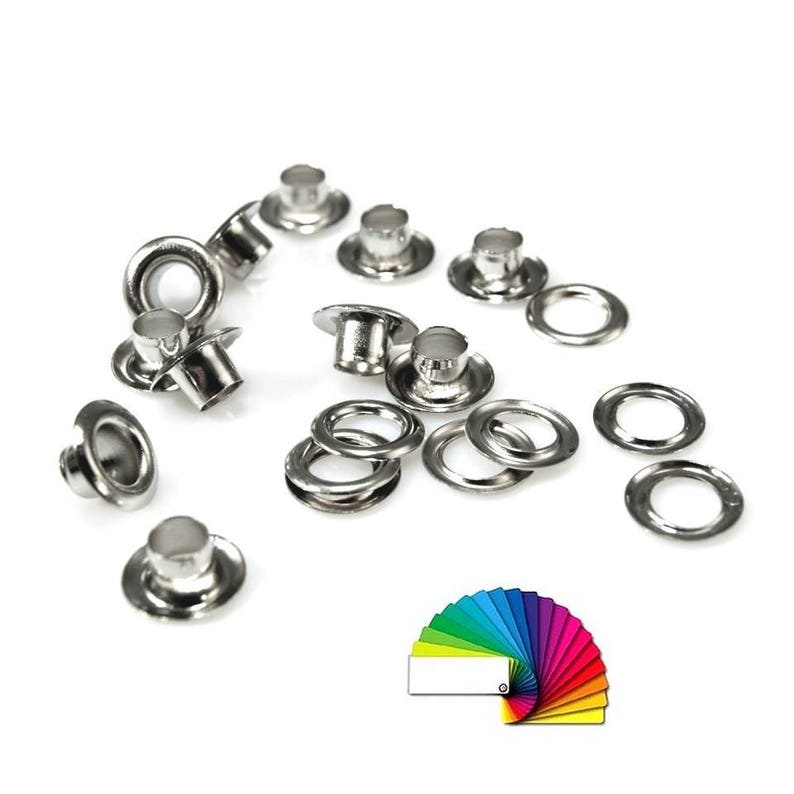 100 metal eyelets 5 mm / silver, bronze, gold / grommet pass for fabric or  leather goods