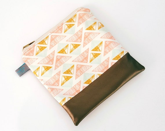 Geometric Triangle Cosmetic Pouch with Metallic Gold Faux Leather