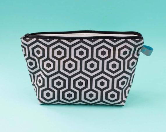 Hexagon print Makeup Bag / Cosmetic Bag