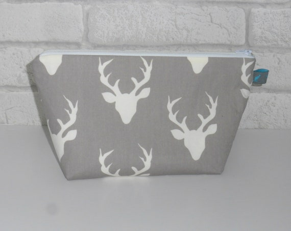 Grey & White Stag Makeup Bag Cosmetic Zipper Pouch