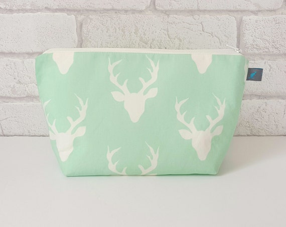 Mint & Cream Stag Cosmetic Bag, waterproof lining