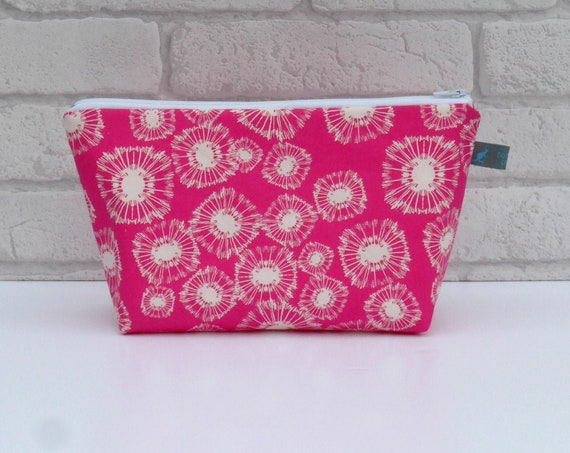 Vibrant Pink Makeup Bag/Cosmetic Zipper Pouch