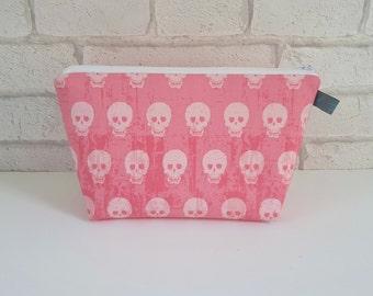 Pink Skull Makeup Bag / Wash Bag