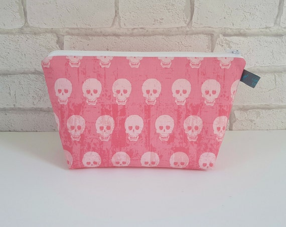 Pink Skull Makeup Bag / Wash Bag