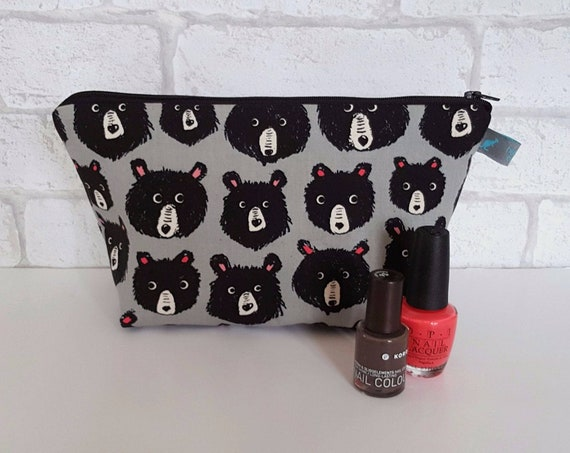 Bears on Grey Makeup Bag / Wash Bag