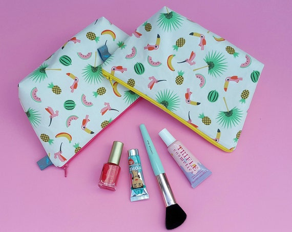 Tropical Print Makeup Bag (toucans, palm trees, pineapples, bananas & watermelons)