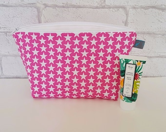 Star Makeup Bag, Pink with white stars