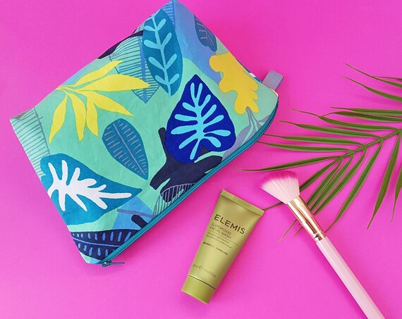 Tropical leaf print cosmetic bag